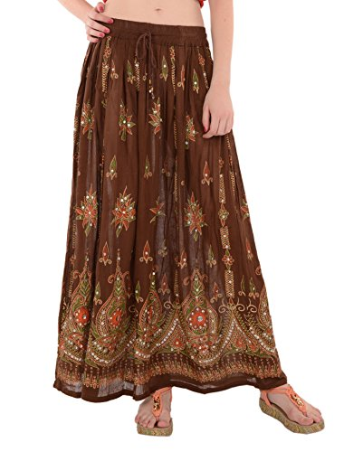 SNS Sequin Long Maxi Elastic Skirt,brown 1,One Size
