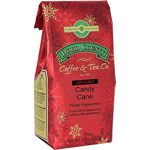Door County Coffee, Holiday Flavored Coffee, Candy Cane, Peppermint Flavored Coffee, Limited Time, Medium Roast, Ground Coffee, 8 oz Bag