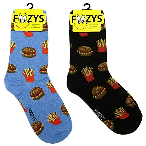 Foozys Women's Crew Socks | Hamburger Fries Food & Drink Novelty Socks | 2 Pair (Best Pickles For Hamburgers)