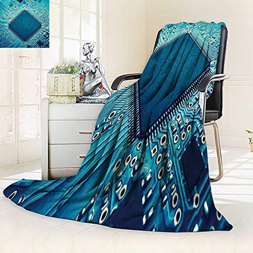 (YOYI-HOME Fleece Duplex Printed Blanket 300 GSM Electronic Circuit Board with Processor Soft Warm Fuzzy Bed Blanket/59 W by 79