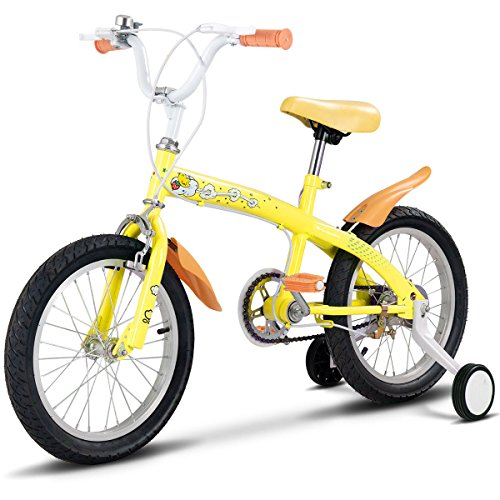 Globe House Products GHP 16″ Yellow Metal Frame Double Brake Kids Bike Rubber Tire Training Wheels