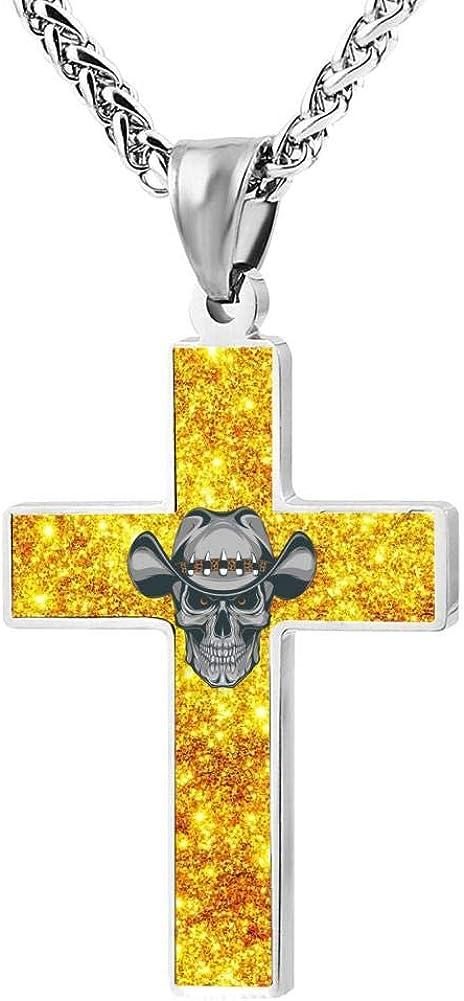 Quensk Skulls in Cowboy Hats Cross Necklace Christ Necklace Pendant Cross Prayer Fashion Accessories for Men Women