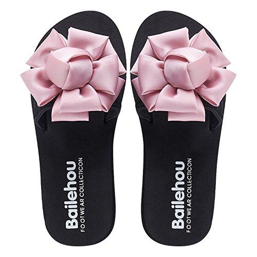 Glid Sandaler För Kvinnor-bowknot Blomma Bohemisk Plattform Lägenheter Sommaren Halkskydd Strand Tofflor Rosa