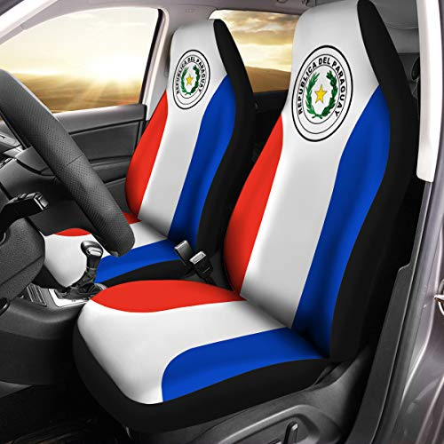 VTH Global Paraguayan Guaraní Coat of Arms Paraguay Flag Car Seat Covers Set of 2 Size Universal Fit