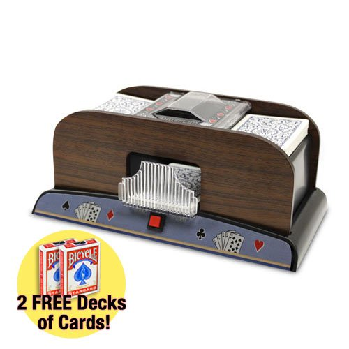 1-2 Deck Deluxe Wooden Card Shuffler w/ Two Free Decks Bicycle Playing Cards by Brybelly (Shuffler 1 Card Deck)