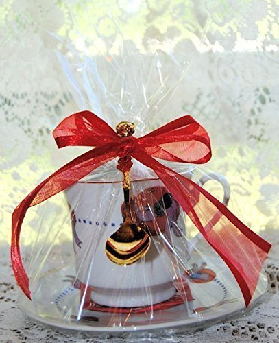 Set of 4 Tea Theme Red Hat Tea Cup (Teacup) Tea Party Favors with Tea Bag and Tea Spoon