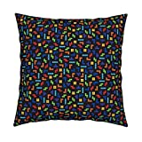 Roostery Tetris Velvet Throw Pillow Gaming Geek by Spacefem Cover and Insert Included