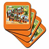 BLN Vintage US Cities and States Postcard Designs - Greetings from Miami Beach Florida Bold Letters with Scenes from Miami - set of 4 Ceramic Tile Coasters (cst_169758_3)