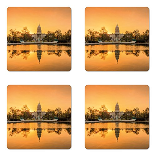 Ambesonne United States Coaster Set of Four, Washington