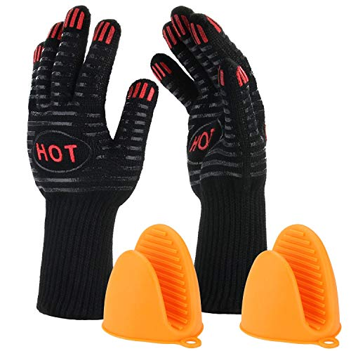 "BBQ Grill Gloves, 932℉ Heat Resistant Grilling Gloves, 14"" Extremely Cooking Oven Mitts for Barbecue, Frying & Baking - Grill & Kitchen Accessories (1 Pair) - Silicone Pot Holder As Bonus (446℉)"