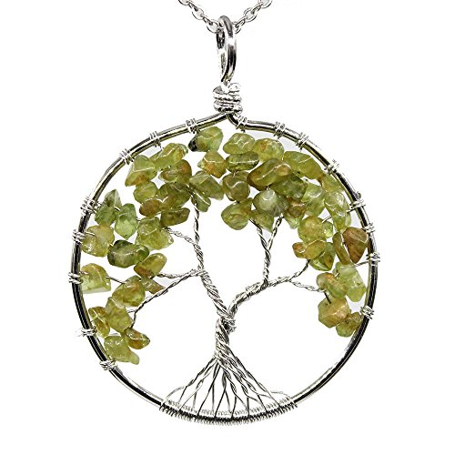 "KISSPAT Handmade Tree Of Life Gemstone Pendant Necklace With 26"" Stainless Steel Chain, Chakra Jewelry Gift For Her"