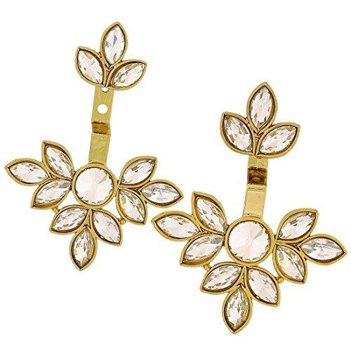 Maayra Kundan Flower Earrings Golden Dangler Drop Wedding Festival Jewellery by Maayra
