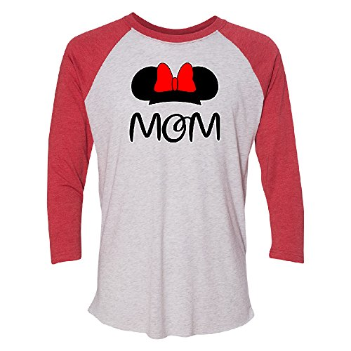 Mom Family Funny Summer Trip 3/4 Raglan Tee Funny Cool Couple Shirt Jersey Red / White Medium