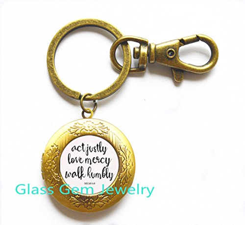 6:8 Act Justly Love Mercy Walk Humbly cameo Photo Cabochon Locket Keychain bible quote jewelry ,Q0230
