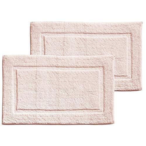 mDesign Soft 100% Cotton Luxury Hotel-Style Rectangular Spa Mat Rug, Plush Water Absorbent, Decorative Border - for Bathroom Vanity, Bathtub/Shower - Machine Washable - 2 Pack - Blush Pink