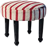 Handmade Cotton Upholstered Wooden Footstool (India)