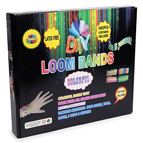 Loom Band 5400 Band Kit with Loom Board, Weaving Tool, S Clips and Charms (Red Bands For A Loom)
