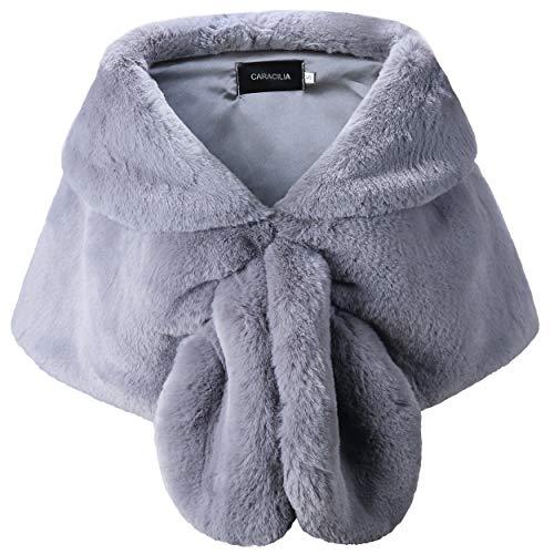 Caracilia Warm Faux Fur Wedding Shawl Wrap for Wedding Party Show Grey S CA95