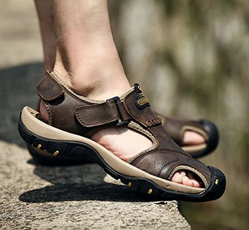Sronjn Herren Freizeit Hausschuhe Sandalenen Outdoor Sandalen Sommer Strand Pantolette Schuhe Braun 42