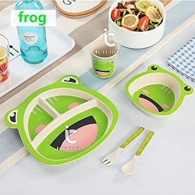 ICYCHEER Juego de vajilla con diseño de animales para niños con cubiertos de cereales y platos infantiles de material natural reciclable: Amazon.es: Belleza