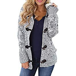 Women's Hooded Cardigans  Knit Sweater Coat Outwear with Pockets