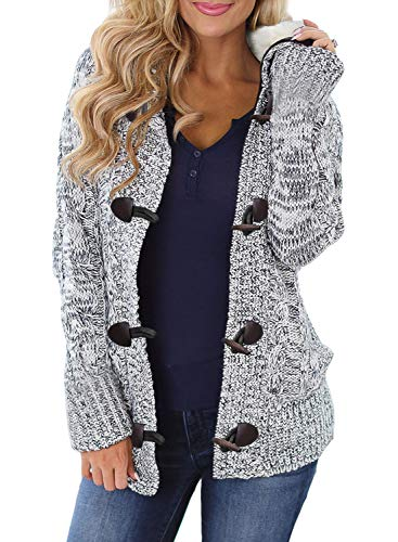 Sidefeel Women Button Up Cardigan Hooded Sweater Coat Outwear with Pockets Large White Grey (Button Front Fur Jacket)