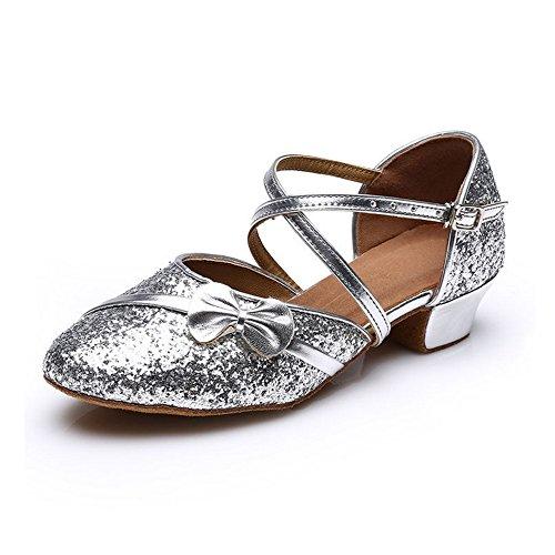 MQ - Zapatillas de danza para niña plateado plata plata
