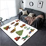 Vanfan Design Home Decorative Christmas celebrations dances songs in winter Cheerful holiday in winter of people Modern Non-Slip Doormats Carpet for Living Dining Room Bedroom Hallway Offic