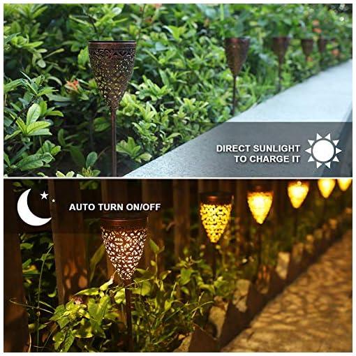 Garden and Outdoor 4 Pack Solar Lights Outdoor, Ulmisfee Garden Pathway Lights, Metal Decorative Stakes, Waterproof LED Landscape Lighting… outdoor lighting