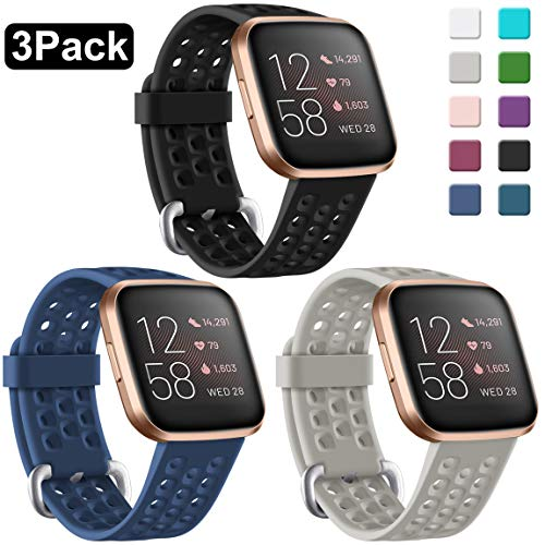 🥇 Maledan Compatible with Fitbit Versa 2/Versa 1/Versa SE & Versa Lite Bands Women Men Waterproof Silicone Sport Smart Watch Band with Breathable Holes