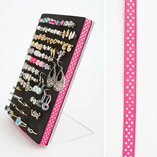 Earring Holder - Stud or Post Earring Organizer - 5x7 Stand - Pink Polka Dot Ribbon
