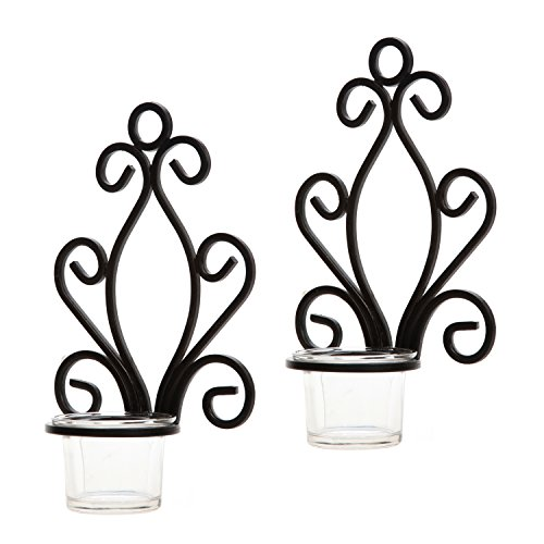 Hosley Set of Two, Iron Wall Sconce, Tea Light Candle Sconces, 7.68