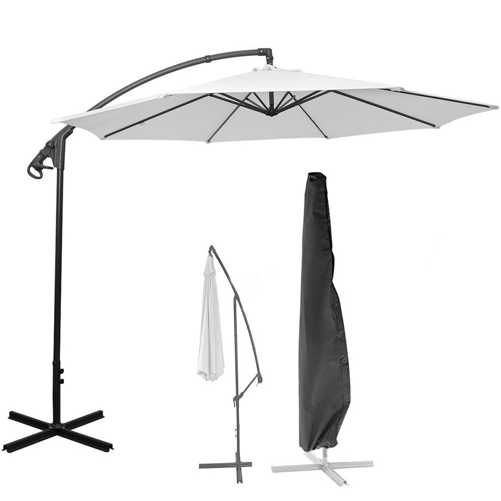 ALLOMN Patio Umbrella Cover for 9ft to 11ft,Waterproof Offset Parasol Cantilever Umbrella Cover with Zipper Used for Outdoor,Garden,Hanging,Black Parasols