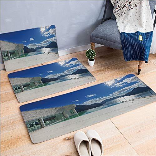 3 Piece Non-Slip Doormat 3d print for Door mat living room kitchen absorbent kitchen mat,Penthouse with Infinite Pool Ocean Sea Scenery,15.7