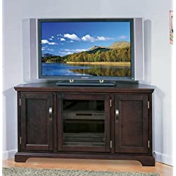 Corner Entertainment Center TV Stand Big Screen TV Media Console Entertainment Units Home Entertainment Center Armoires Chocolate Finish Cherry Wood 50-Inch Television Home Entertainment Center Chocolate Finish Cherry Wood
