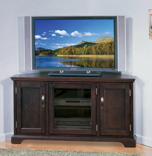 Corner Entertainment Center TV Stand Big Screen TV Media Console Entertainment Units Home Entertainment Center Armoires Chocolate Finish Cherry Wood 50-Inch Television Home Entertainment Center Chocolate Finish Cherry Wood (Corner Television Armoire)