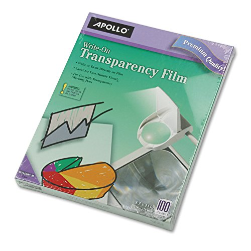 - Apollo WO100CB Write-On Transparency Film, Letter Size, Clear, 100/Box