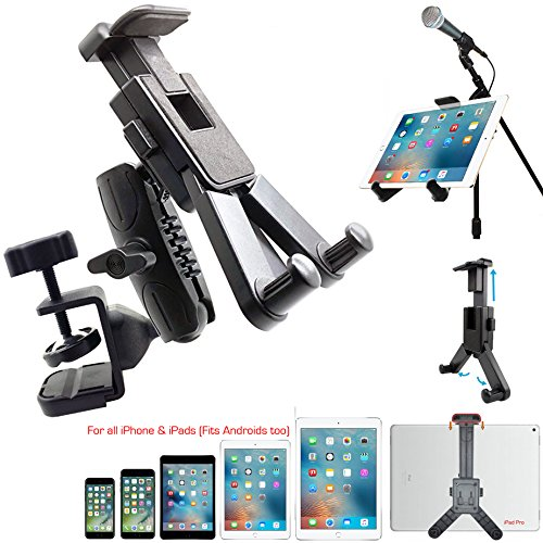 Dual Joint Rotate Adjust Pole/Bar Metal C-Clamp Podium Orchestra Music Mic Microphone Stand Mount for Tablet Apple iPad Air Mini Samsung Galaxy Tab E S A Surface & iPhone X 8 7 XR XS MAX Smartphone