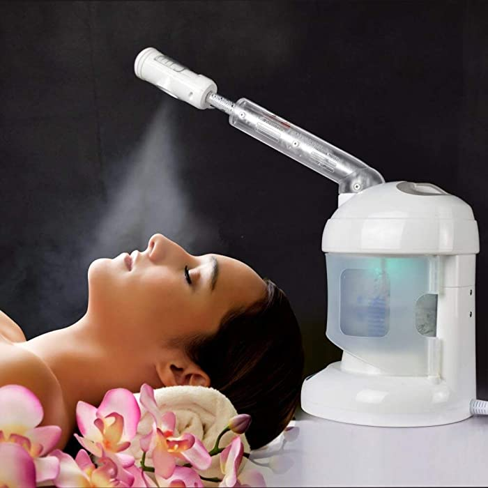 Facial Steamer, with Extendable Arm Ozone Table Top Mini Spa Face Steamer Design For Personal Care Use At Home or Salon, White