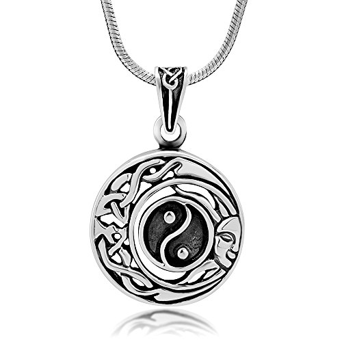 (Chuvora 925 Oxidized Sterling Silver Celtic Yin Yang Moon Sun Symbol Open Round Pendant Necklace, 18 inches)