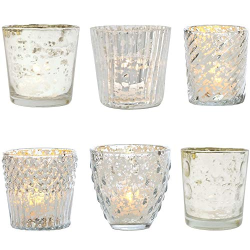 (Luna Bazaar Vintage Romance Mercury Glass Candle Holders (Silver, Set of 6) - for Use with Tea Lights - for Home Decor, Parties, and Wedding Decorations - Mercury Glass Votive Holders)
