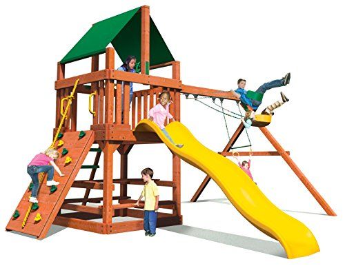 Jack and June Cedar Playset with Swings and Wave Slide