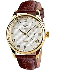 CIVO Mens Watches Leatehr Waterproof Gold Watch Men Roman Numeral Date Calendar Simple Design Wrist Watches Casual Business Dress Fashion Classic Analogue Quartz Watches for Men