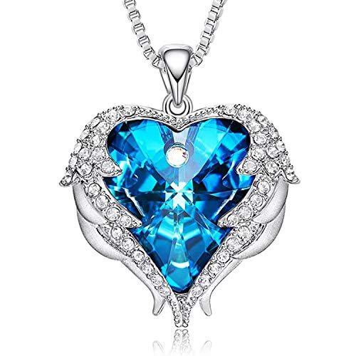 - VIWIK Heart of Ocean Woman Angel Wing Pendant Necklace Earring Set Embellished with Crystals from Swarovski, Gift for Her,Come with Beautiful Box (Blue)