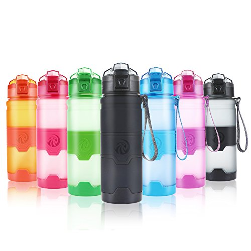 ZORRI Sport Water Bottle for Kids, 500ml/17oz - Bpa Free Eco-Friendly Tritan Plastic, Reusable Drinks Water Bottles with Filter, Leak Proof Flip Top, Open with 1-Click - for Gym, Yoga, Running