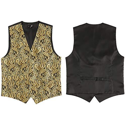 Partito Cravatta A V Panciotto Gilet Fit Scollo Cerimonia Sciarpa Elegante Quadrata amp; Oro Tianbin Slim Uomo 7tg8xqa