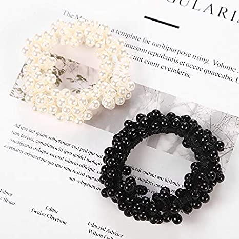 Fashion Pearls Bead Elastic Rubber Hair Bands Elegant Headwear Women Girl Hair Rope Scrunchy Ponytail Jewelry Hair Accessories Style 1 White