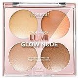 L'Oreal Paris Makeup True Match Lumi Glow Nude Highlighter Makeup Palette, Moon-Kissed, 0.26 oz.