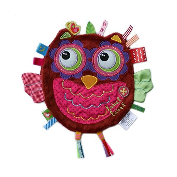 label label Friends Hattie Hoot Owl Silky Comfort Mini Grasp and Soothe Taggie Blanket