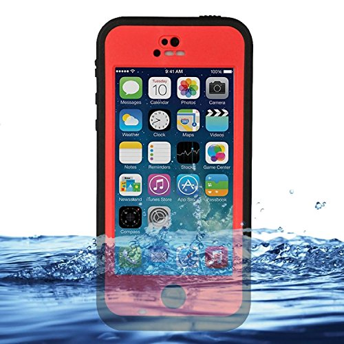 3C-Aone Waterproof Phone Case Cover For Apple iPhone 5C Shock-Absorbing Pumber Dirtproof (Red) (Iphone 5c Diving Case)